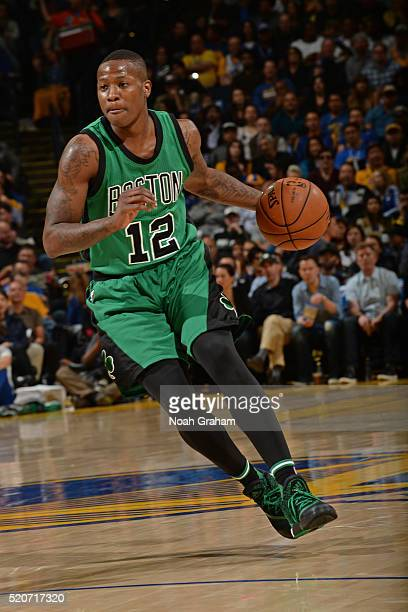 Terry Rozier of the Boston Celtics handles the ball against the Golden State Warriors on April 1 2016 at Oracle Arena in Oakland California NOTE TO...