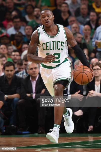 Terry Rozier of the Boston Celtics handles the ball against the Cleveland Cavaliers on March 1 2017 at the TD Garden in Boston Massachusetts NOTE TO...