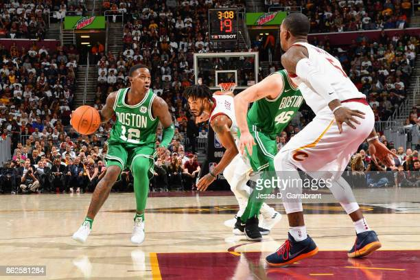 Terry Rozier of the Boston Celtics handles the ball against the Cleveland Cavaliers on October 17 2017 at Quicken Loans Arena in Cleveland Ohio NOTE...