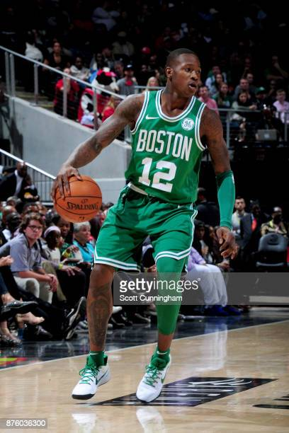 Terry Rozier of the Boston Celtics handles the ball against the Atlanta Hawks on November 18 2017 at Philips Arena in Atlanta Georgia NOTE TO USER...