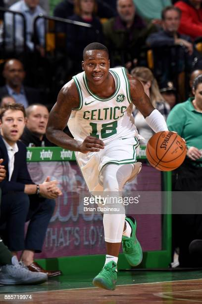 Terry Rozier of the Boston Celtics handles the ball against the Milwaukee Bucks on December 4 2017 at the TD Garden in Boston Massachusetts NOTE TO...