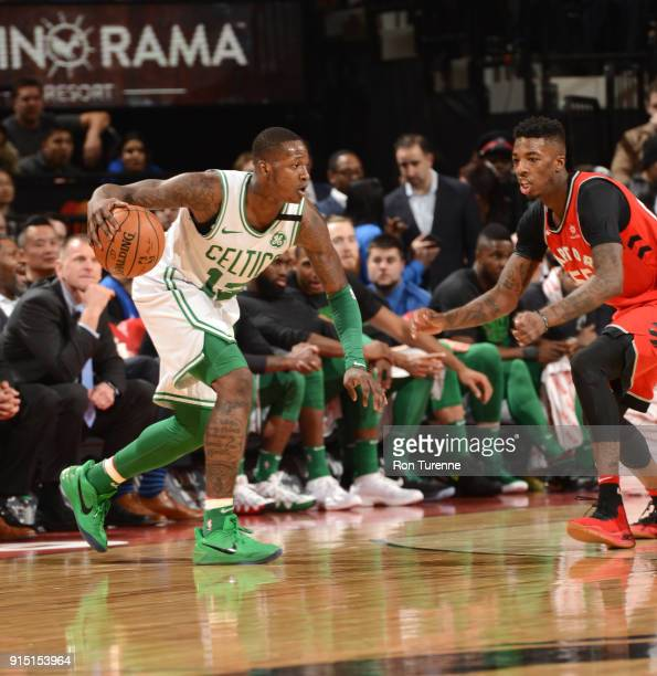 Terry Rozier of the Boston Celtics handles the ball against the Toronto Raptors on February 6 2018 at the Air Canada Centre in Toronto Ontario Canada...