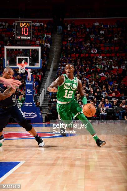Terry Rozier of the Boston Celtics handles the ball against the Detroit Pistons on February 23 2018 at Little Caesars Arena in Detroit Michigan NOTE...