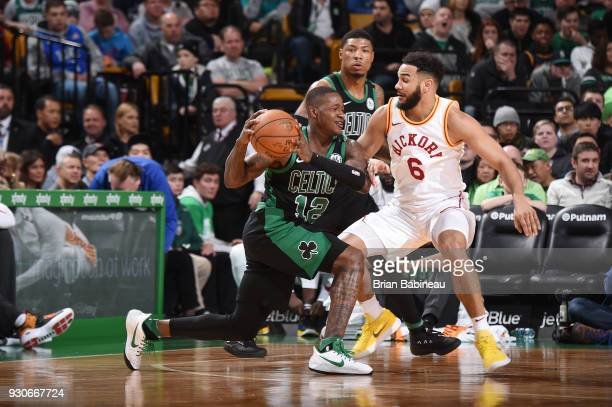 Terry Rozier of the Boston Celtics handles the ball against the Indiana Pacers on March 11 2018 at the TD Garden in Boston Massachusetts NOTE TO USER...
