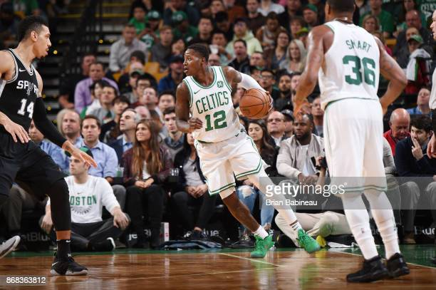 Terry Rozier of the Boston Celtics handles the ball against the San Antonio Spurs on October 30 2017 at the TD Garden in Boston Massachusetts NOTE TO...