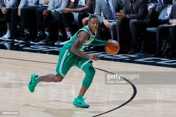 Terry Rozier of the Boston Celtics handles the ball against the San Antonio Spurs on December 8 2017 at the ATT Center in San Antonio Texas NOTE TO...