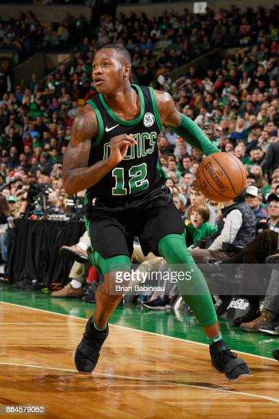 Terry Rozier of the Boston Celtics handles the ball against the Phoenix Suns on December 2 2017 at the TD Garden in Boston Massachusetts NOTE TO USER...