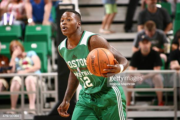 Terry Rozier of the Boston Celtics handles the ball against the Utah Jazz during the NBA Summer League on July 6 2015 at EnergySolutions Arena in...
