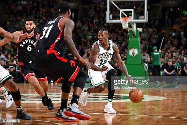 Terry Rozier of the Boston Celtics handles the ball during the game against the Toronto Raptors on December 9 2016 at TD Garden in Boston...