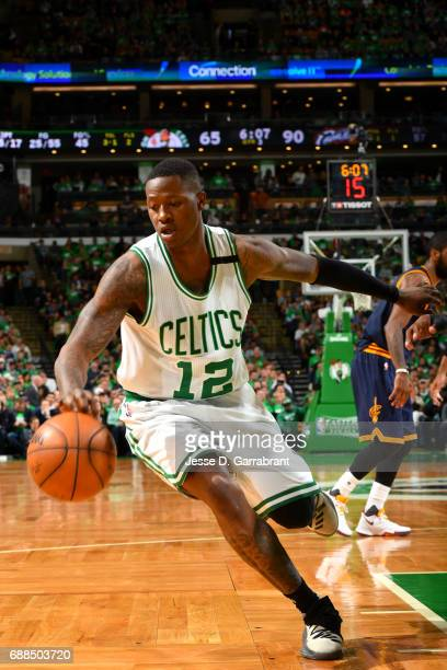 Terry Rozier of the Boston Celtics handles the ball during the game against the Cleveland Cavaliers during Game Five of the Eastern Conference Finals...