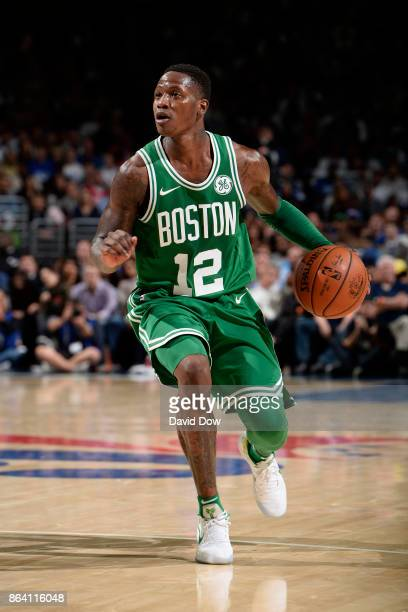 Terry Rozier of the Boston Celtics handles the ball during the game against the Philadelphia 76ers on October 20 2017 at the Wells Fargo Center in...