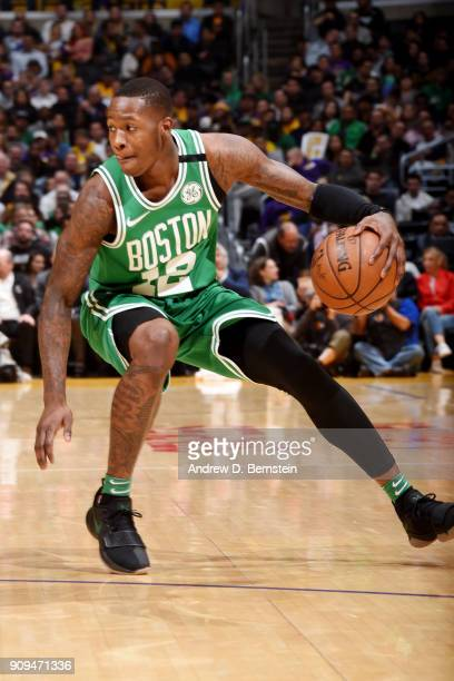 Terry Rozier of the Boston Celtics handles the ball during the game against the Los Angeles Lakers on January 23 2018 at STAPLES Center in Los...