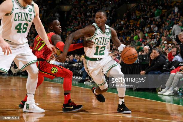 Terry Rozier of the Boston Celtics handles the ball during the game against the Atlanta Hawks on February 2 2018 at the TD Garden in Boston...
