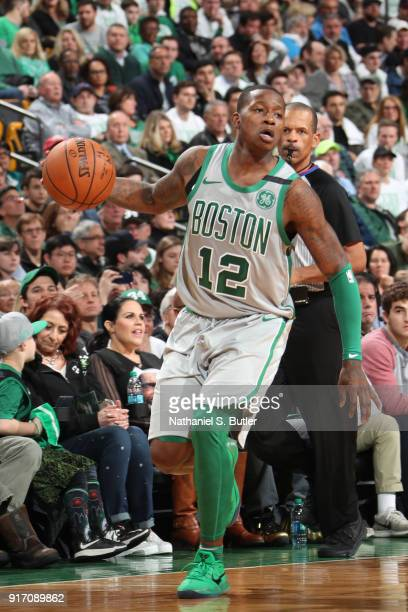 Terry Rozier of the Boston Celtics handles the ball during the game against the Cleveland Cavaliers on February 11 2018 at TD Garden in Boston...