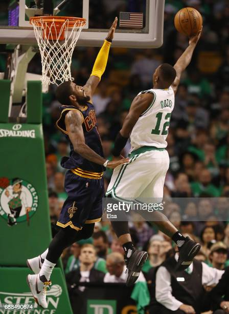 Terry Rozier of the Boston Celtics heads for the net as Kyrie Irving of the Cleveland Cavaliers defends during Game Five of the 2017 NBA Eastern...