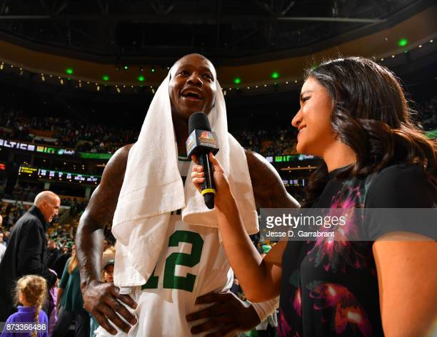 Terry Rozier of the Boston Celtics is interviewed after the game against the Toronto Raptors on November 12 2017 at the TD Garden in Boston...