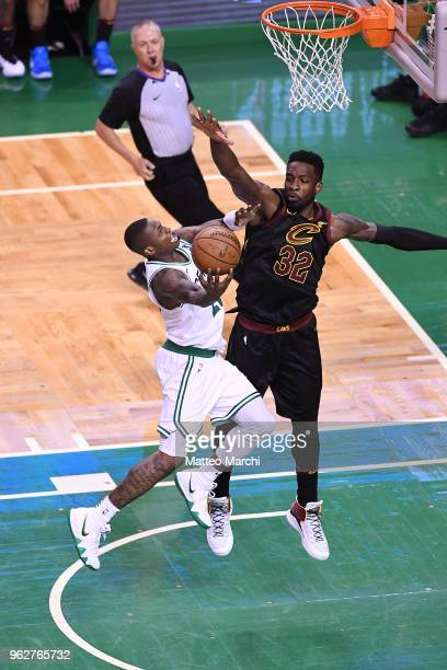 Terry Rozier of the Boston Celtics lays up a shot against Jeff Green of the Cleveland Cavaliers during Game Five of the 2018 NBA Eastern Conference...