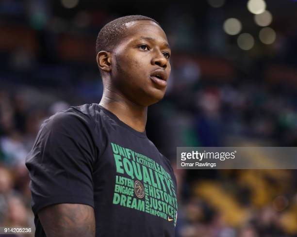 Terry Rozier of the Boston Celtics looks on before the game against the Portland Trail Blazers at TD Garden on February 4 2018 in Boston...