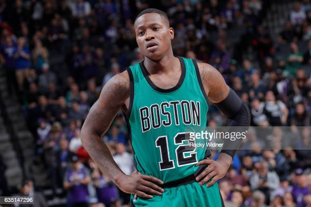 Terry Rozier of the Boston Celtics looks on during the game against the Sacramento Kings on February 8 2017 at Golden 1 Center in Sacramento...