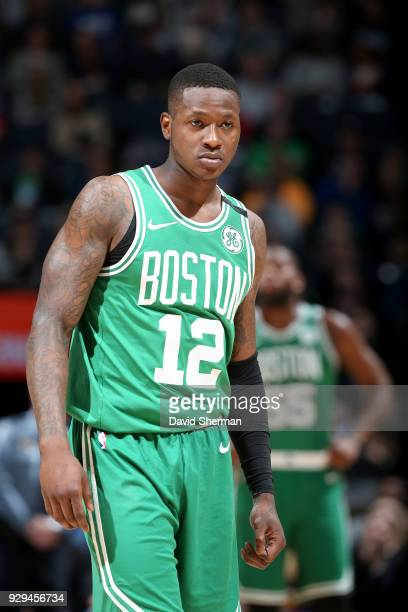 Terry Rozier of the Boston Celtics looks on during the game against the Minnesota Timberwolves on March 8 2018 at Target Center in Minneapolis...