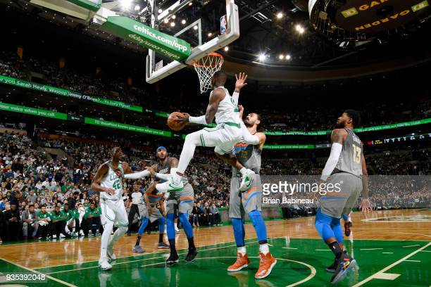 Terry Rozier of the Boston Celtics looks to pass against the Oklahoma City Thunder on March 20 2018 at the TD Garden in Boston Massachusetts NOTE TO...