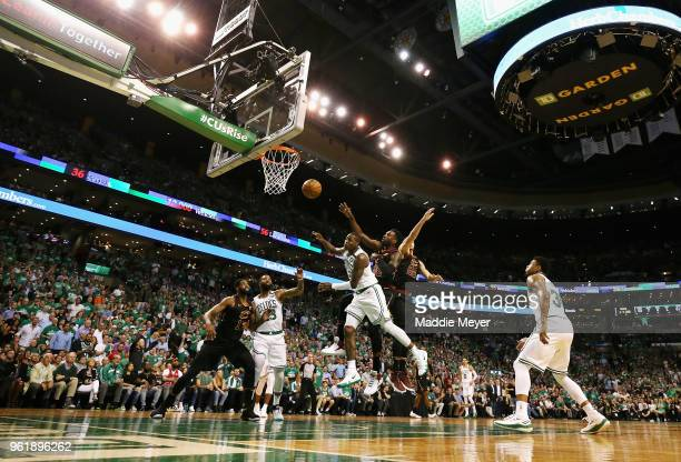 Terry Rozier of the Boston Celtics loses the ball as he drives to the basket against the Cleveland Cavaliers in the first half during Game Five of...