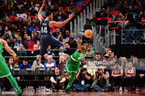 Terry Rozier of the Boston Celtics passes the ball against the Detroit Pistons on February 23 2018 at Little Caesars Arena in Detroit Michigan NOTE...