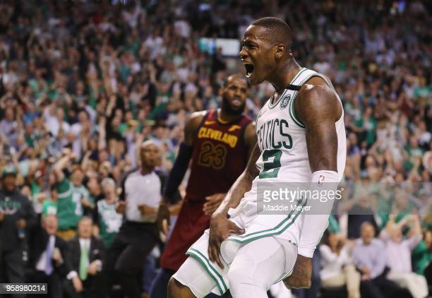 Terry Rozier of the Boston Celtics reacts after dunking the ball in the second half against the Cleveland Cavaliers during Game Two of the 2018 NBA...