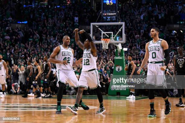 Terry Rozier of the Boston Celtics reacts against the Milwaukee Bucks in Game One of Round One during the 2018 NBA Playoffs on April 15 2018 at TD...