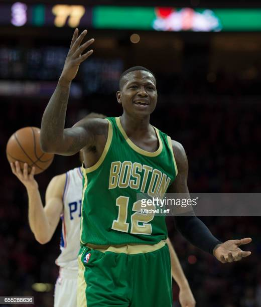 Terry Rozier of the Boston Celtics reacts against the Philadelphia 76ers in the third quarter at the Wells Fargo Center on March 19 2017 in...