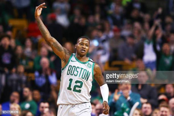 Terry Rozier of the Boston Celtics reacts during a game against the Memphis Grizzlies at TD Garden on February 26 2018 in Boston Massachusetts NOTE...