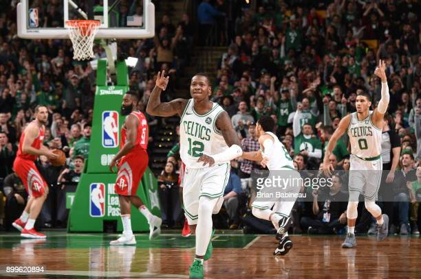 Terry Rozier of the Boston Celtics reacts during the game against the Houston Rockets on December 28 2017 at the TD Garden in Boston Massachusetts...