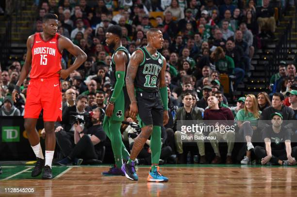 Terry Rozier of the Boston Celtics reacts to a play during the game against the Houston Rockets on March 3 2019 at the TD Garden in Boston...