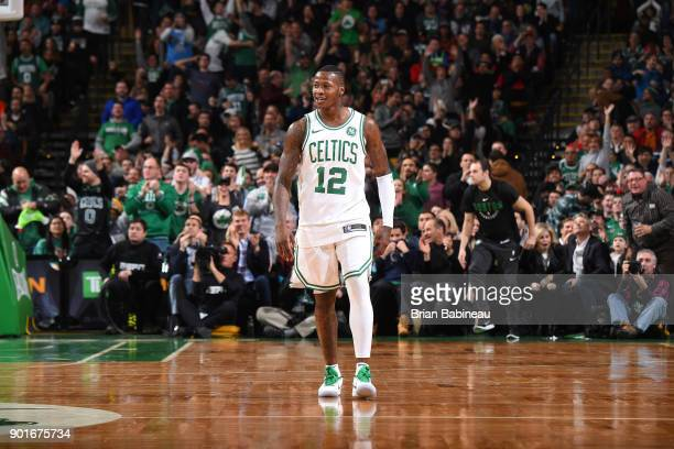 Terry Rozier of the Boston Celtics reacts to a play during the game against the Minnesota Timberwolves on January 5 2018 at the TD Garden in Boston...