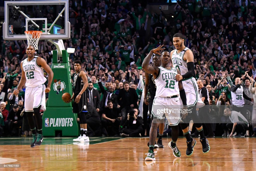 Terry Rozier #12 of the Boston Celtics reacts to a play during the game against the Milwaukee Bucks in Game One of Round One during the 2018 NBA Playoffs on April 15, 2018 at TD Garden in Boston, Massachusetts.