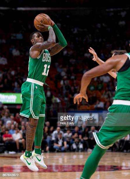 Terry Rozier of the Boston Celtics shoots during the second half of the game against the Miami Heat at the American Airlines Arena on October 28 2017...