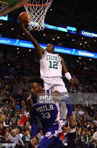 Terry Rozier of the Boston Celtics shoots the ball against Robert Covington of the Philadelphia 76ers during the first half of their game at TD...