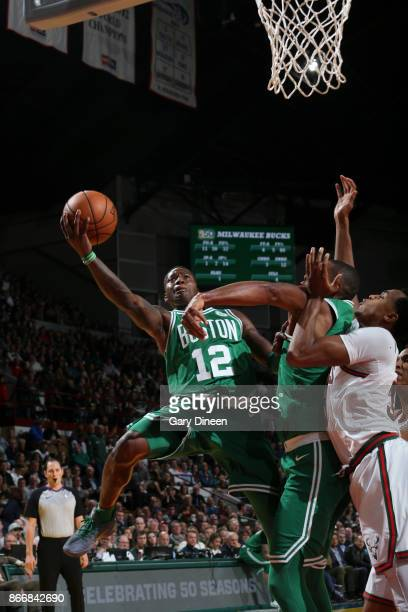 Terry Rozier of the Boston Celtics shoots the ball against the Milwaukee Bucks on October 26 2017 at the UWMilwaukee Panther Arena in Milwaukee...