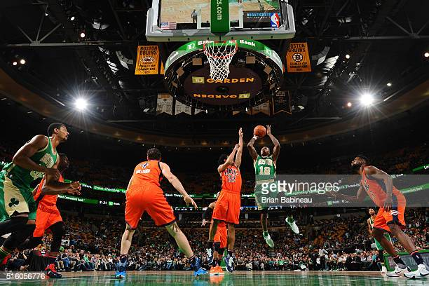 Terry Rozier of the Boston Celtics shoots the ball against the Oklahoma City Thunder on March 16 2016 at the TD Garden in Boston Massachusetts NOTE...
