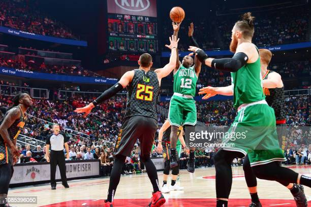 Terry Rozier of the Boston Celtics shoots the ball against the Atlanta Hawks on January 19 2019 at State Farm Arena in Atlanta Georgia NOTE TO USER...