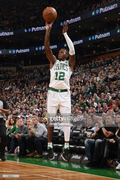 Terry Rozier of the Boston Celtics shoots the ball against the Sacramento Kings on November 1 2017 at the TD Garden in Boston Massachusetts NOTE TO...