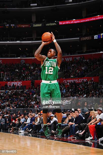Terry Rozier of the Boston Celtics shoots the ball against the Los Angeles Clippers on March 28 2016 at STAPLES Center in Los Angeles California NOTE...