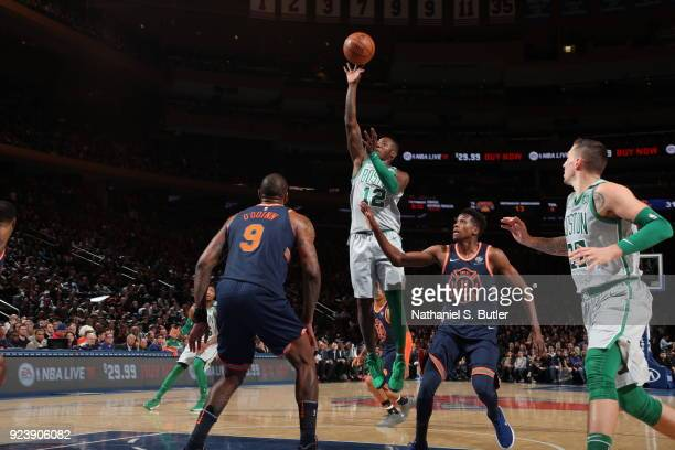 Terry Rozier of the Boston Celtics shoots the ball against the New York Knicks on February 24 2018 at Madison Square Garden in New York New York NOTE...
