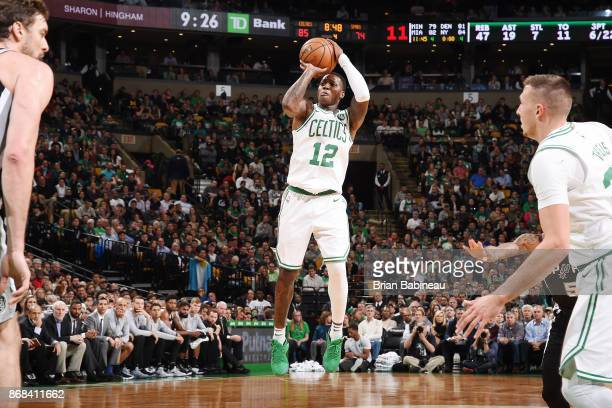 Terry Rozier of the Boston Celtics shoots the ball against the San Antonio Spurs on October 30 2017 at the TD Garden in Boston Massachusetts NOTE TO...