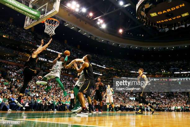Terry Rozier of the Boston Celtics shoots the ball during a game against the Cleveland Cavaliers at TD Garden on February 11 2018 in Boston...