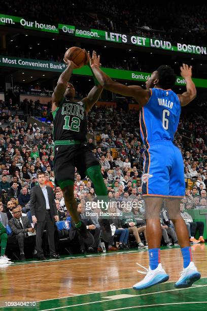 Terry Rozier of the Boston Celtics shoots the ball during the game against Hamidou Diallo of the Oklahoma City Thunder on February 3 2019 at the TD...
