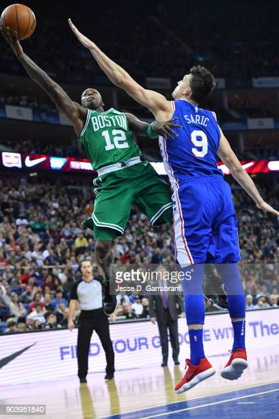 Terry Rozier of the Boston Celtics shoots the ball during the game against the Philadelphia 76ers on January 11 2018 at The O2 Arena in London...