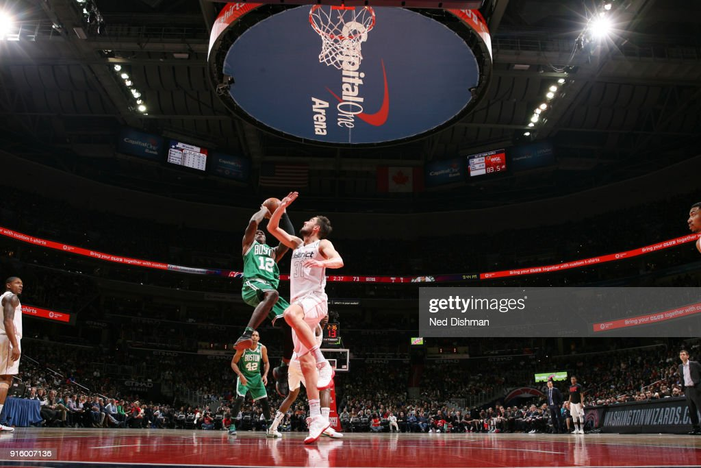 Terry Rozier #12 of the Boston Celtics shoots the ball during the game against the Washington Wizards on February 8, 2018 at Capital One Arena in Washington, DC.
