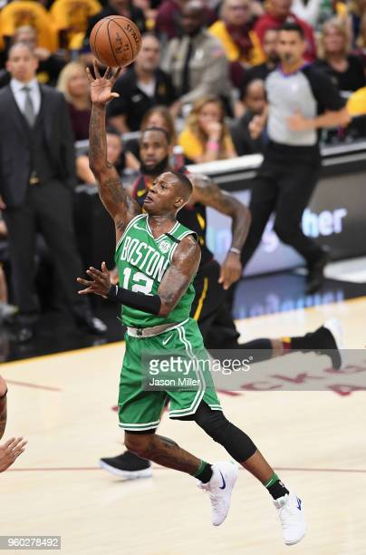 Terry Rozier of the Boston Celtics shoots the ball in the first half against the Cleveland Cavaliers during Game Three of the 2018 NBA Eastern...