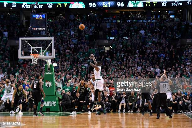 Terry Rozier of the Boston Celtics shoots the ball to lead the game against the Milwaukee Bucks in Game One of Round One during the 2018 NBA Playoffs...